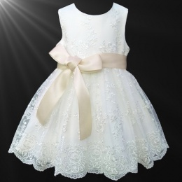 Girls Ivory Floral Lace Dress with Champagne Satin Sash