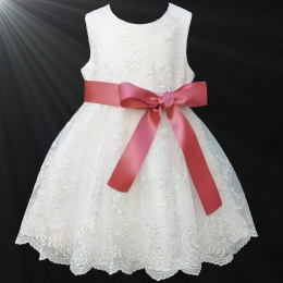 Girls Ivory Floral Lace Dress with Coral Satin Sash
