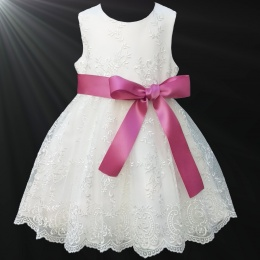 Girls Ivory Floral Lace Dress with Dusky Pink Satin Sash