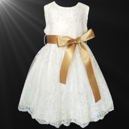 Girls Ivory Floral Lace Dress with Gold Satin Sash