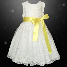 Girls Ivory Floral Lace Dress with Lemon Satin Sash