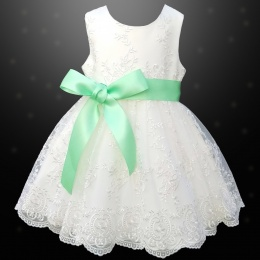 Girls Ivory Floral Lace Dress with Mint Satin Sash
