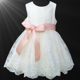 Girls Ivory Floral Lace Dress with Peach Satin Sash