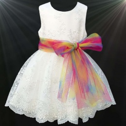 Girls Ivory Floral Lace Dress with Rainbow Sash