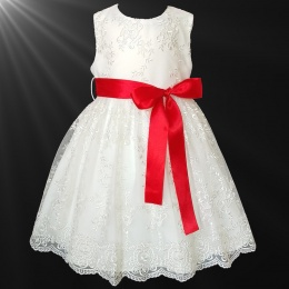 Girls Ivory Floral Lace Dress with Red Satin Sash