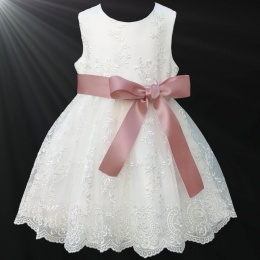 Girls Ivory Floral Lace Dress with Rose Gold Satin Sash