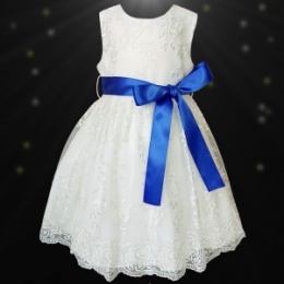 Girls Ivory Floral Lace Dress with Royal Blue Satin Sash