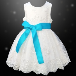 Girls Ivory Floral Lace Dress with Turquoise Satin Sash