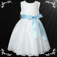 Girls White Floral Lace Dress with Baby Blue Satin Sash