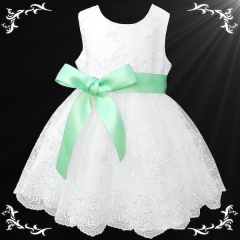 Girls White Floral Lace Dress with Mint Satin Sash