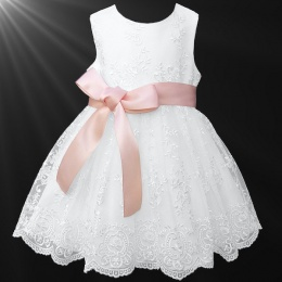 Girls White Floral Lace Dress with Peach Satin Sash