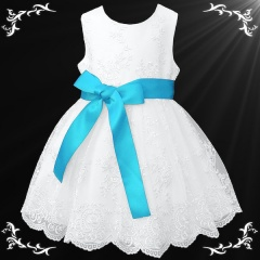 Girls White Floral Lace Dress with Turquoise Satin Sash