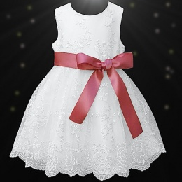 Girls White Floral Lace Dress with Coral Satin Sash