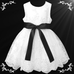 Girls White Floral Lace Dress with Black Satin Sash