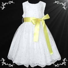 Girls White Floral Lace Dress with Lemon Satin Sash