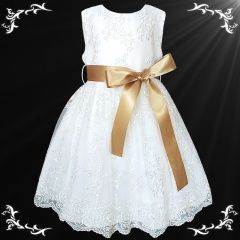 Girls White Floral Lace Dress with Gold Satin Sash