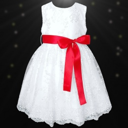 Girls White Floral Lace Dress with Red Satin Sash