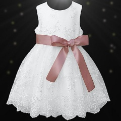Girls White Floral Lace Dress with Rose Gold Satin Sash