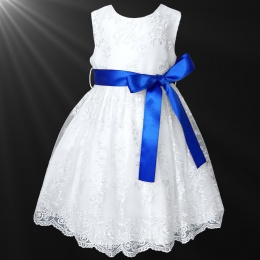 Girls White Floral Lace Dress with Royal Blue Satin Sash