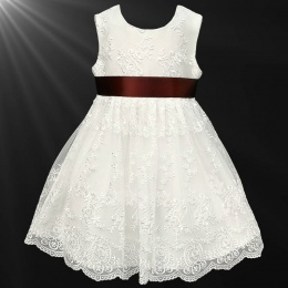 Girls Ivory Floral Lace Dress with Brown Satin Sash