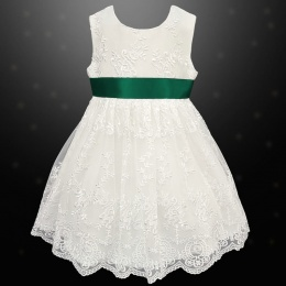 Girls Ivory Floral Lace Dress with Bottle Satin Sash