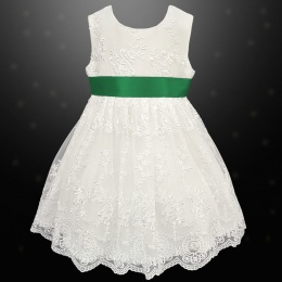 Girls Ivory Floral Lace Dress with Emerald Satin Sash