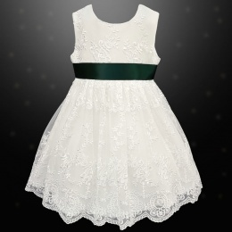 Girls Ivory Floral Lace Dress with Hunter Satin Sash