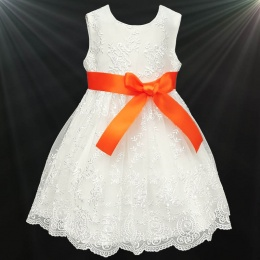 Girls Ivory Floral Lace Dress with Orange Satin Sash
