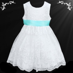 Girls White Floral Lace Dress with Aqua Satin Sash