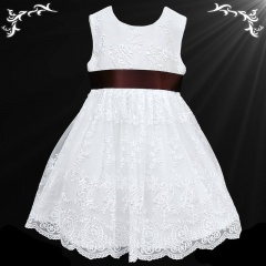 Girls White Floral Lace Dress with Brown Satin Sash