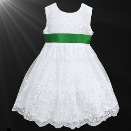 Girls White Floral Lace Dress with Emerald Satin Sash
