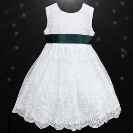 Girls White Floral Lace Dress with Hunter Satin Sash