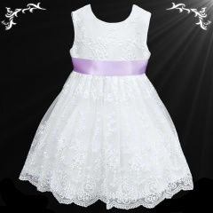 Girls White Floral Lace Dress with Lilac Satin Sash