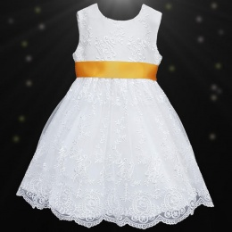 Girls White Floral Lace Dress with Marigold Satin Sash