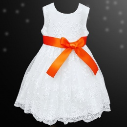 Girls White Floral Lace Dress with Orange Satin Sash