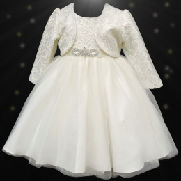 Girls Ivory Sequin & Brooch Organza Dress with Bolero