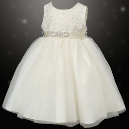 Girls Ivory Sequin & Diamante Brooch Organza Dress