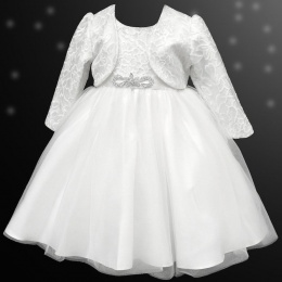 Girls White Sequin & Brooch Organza Dress with Bolero