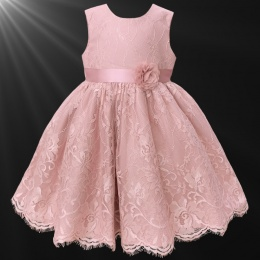 Girls Blush Pink Fringe Lace Dress with Flower Sash