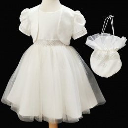 Girls Ivory Diamante & Pearl Dress, Dolly Bag & Bolero
