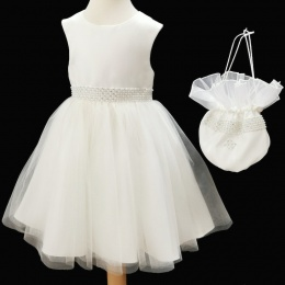 Girls Ivory Diamante & Pearl Dress with Dolly Bag