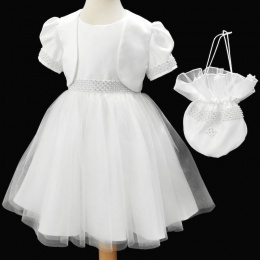 Girls White Diamante & Pearl Dress, Dolly Bag & Bolero