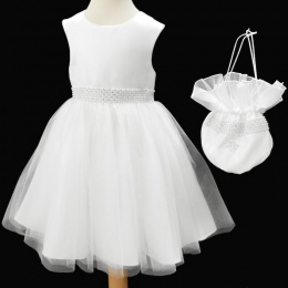 Girls White Diamante & Pearl Dress with Dolly Bag