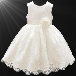 Girls Ivory Fringe Lace Dress with Flower Sash