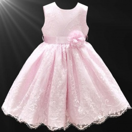 Girls Pink Fringe Lace Dress with Flower Sash
