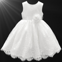 Girls White Fringe Lace Dress with Flower Sash