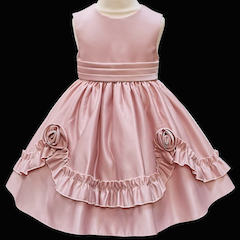 Girls Blush Pink Frilly Rose Dress