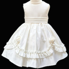 Girls Ivory Frilly Rose Dress