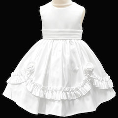 Girls White Frilly Rose Dress