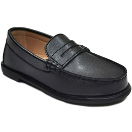 Boys Black Round Toe Slip On Loafers
